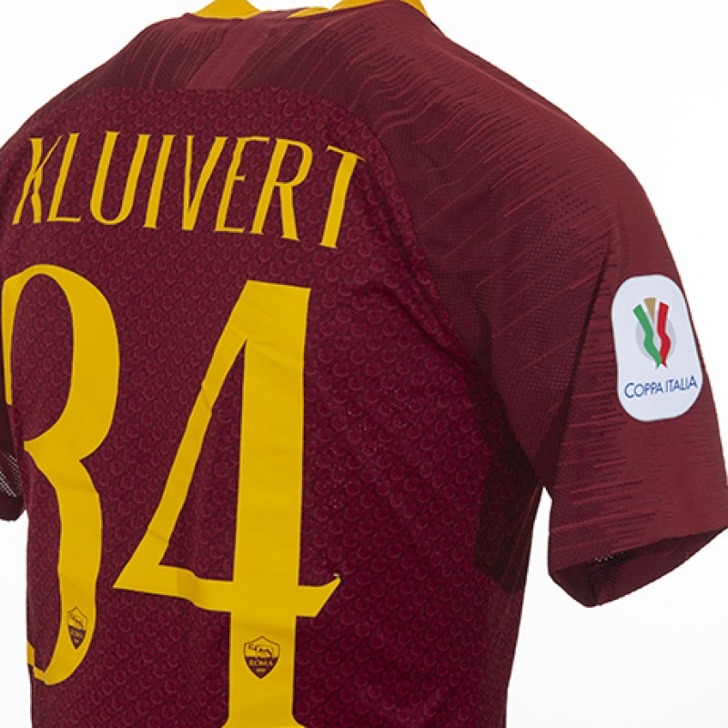 Kluivert's Worn Shirt, Roma- Entella, Coppa Italia 18/19