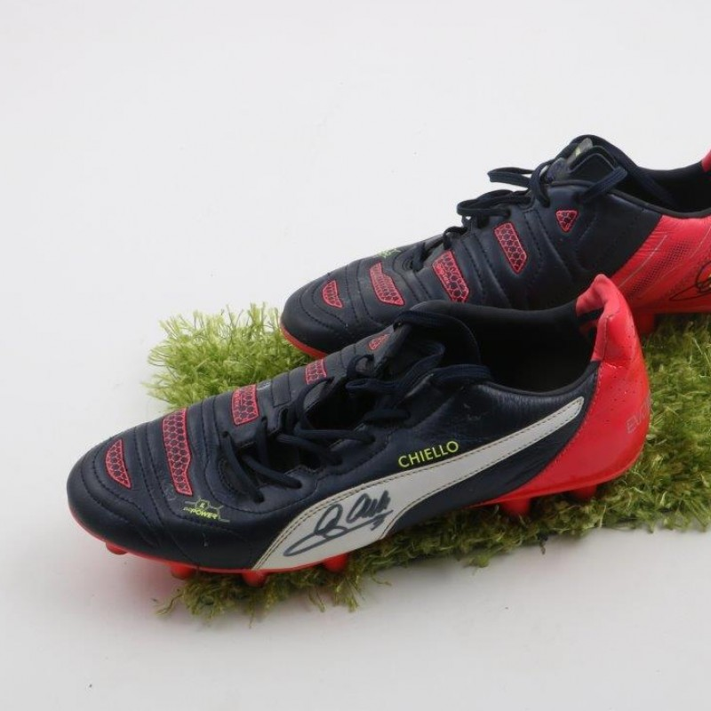 Chiellini Juventus shoes, worn season 2014/2015 - signed