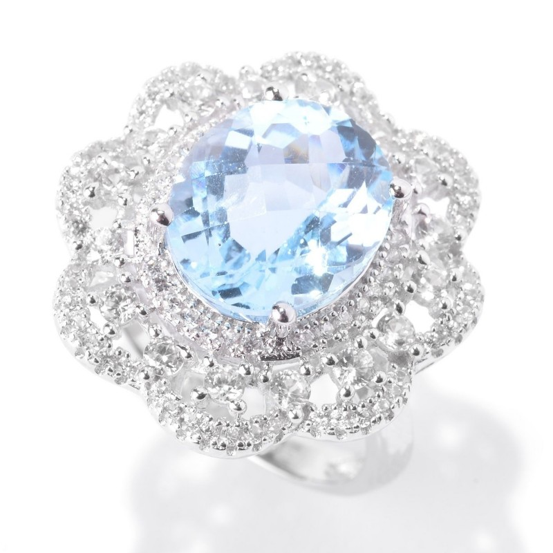 Blue Topaz and White Zircon Flower Halo Ring