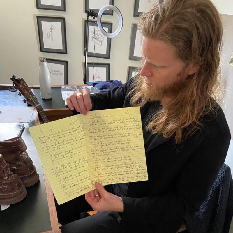 The Lumineers 'Slow It Down' Handwritten Lyric Sheet