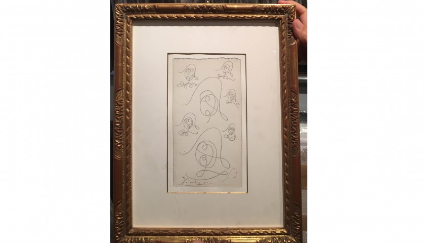 Picasso Original artwork - Seven studies for a head of a Harlequin
