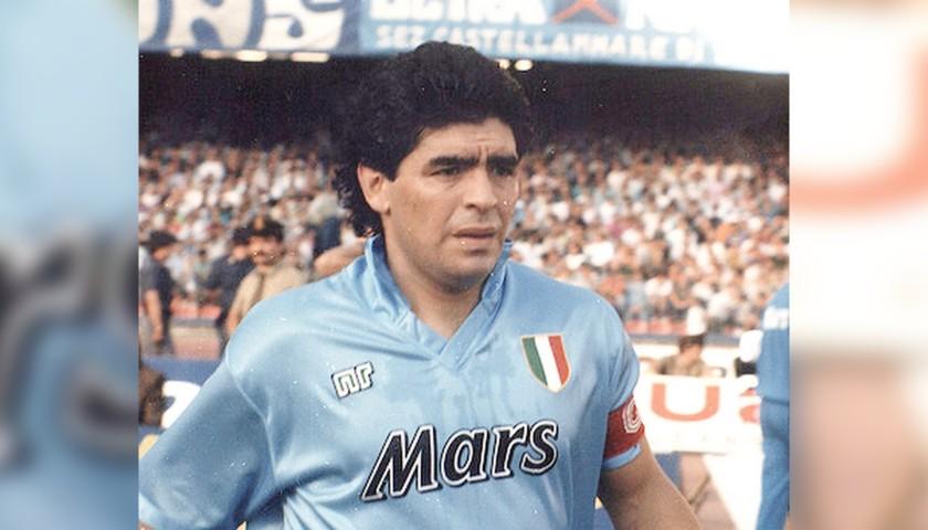 Captain's Armband Worn by Diego Armando Maradona, 1990/91 - Signed