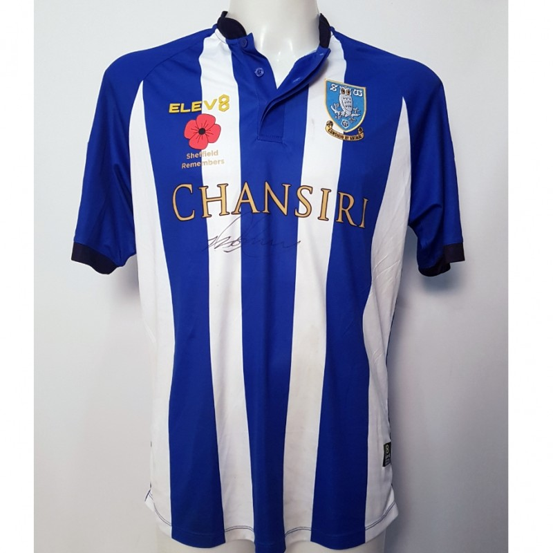 Jordan Thorniley's Sheffield Wednesday Worn and Signed Poppy Home Shirt
