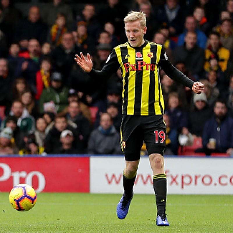 Hughes' Watford FC Worn and Signed Poppy Shirt