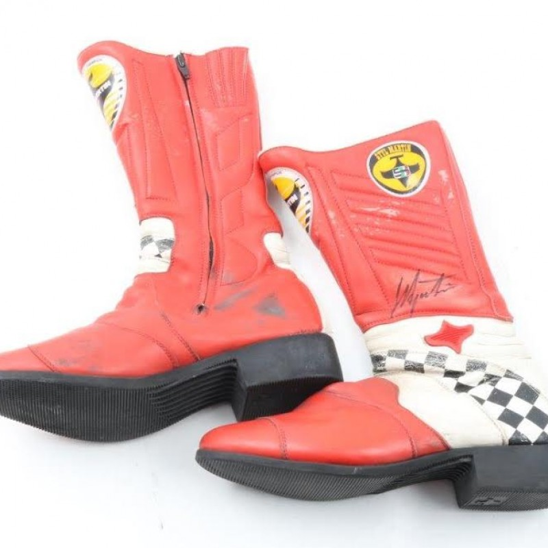 Boots Worn and Signed by Italian MotoGP Champion Giacomo Agostini
