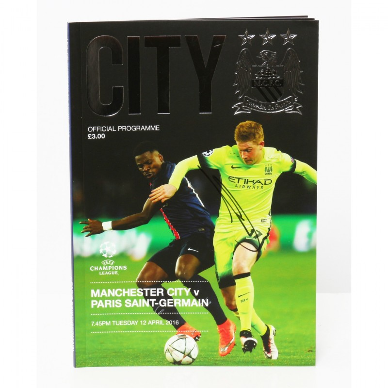 Kevin De Bruyne Manchester City v Paris Saint-Germain Signed Brochure