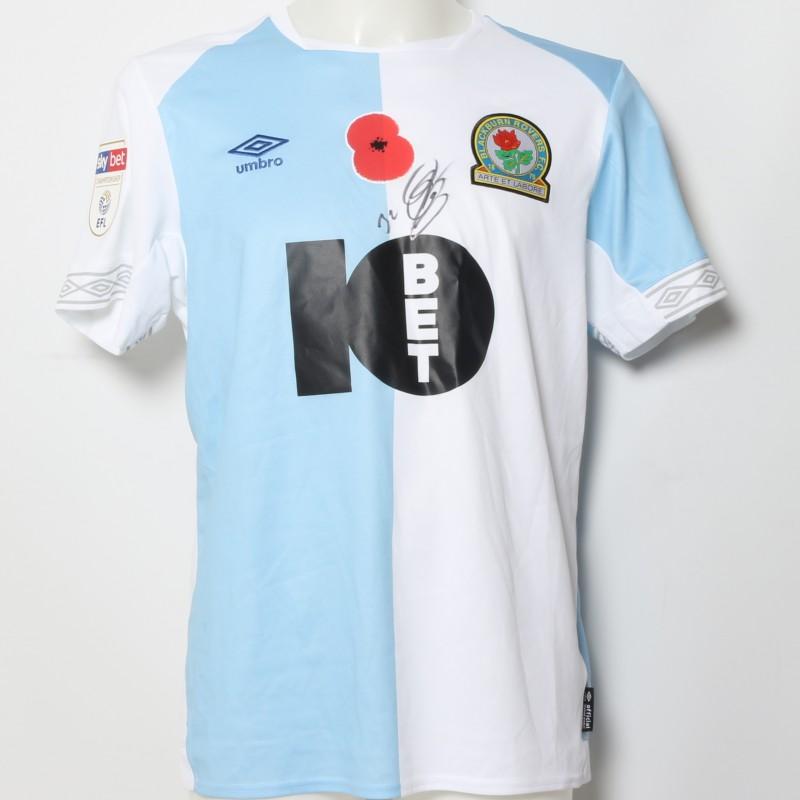 Craig Conway's Match-Worn Blackburn Rovers Signed Poppy Home Shirt