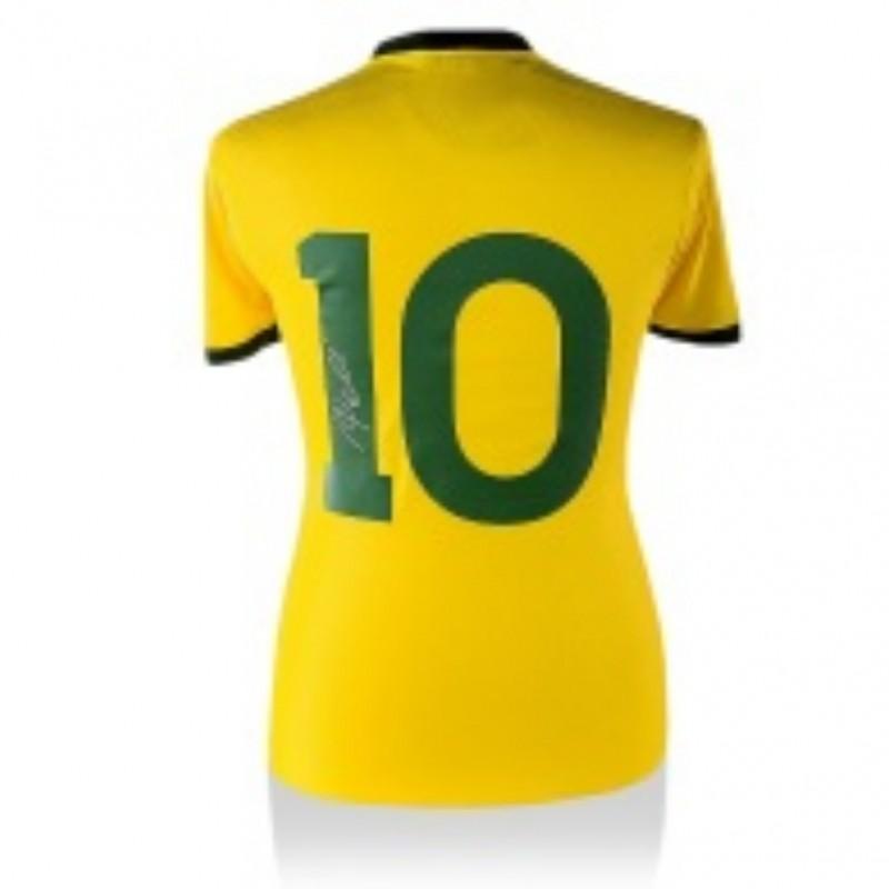 Pele Hand Signed Brazil Soccer Jersey