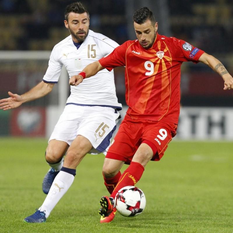 Barzagli's Signed Match Shirt, Macedonia-Italy 2016