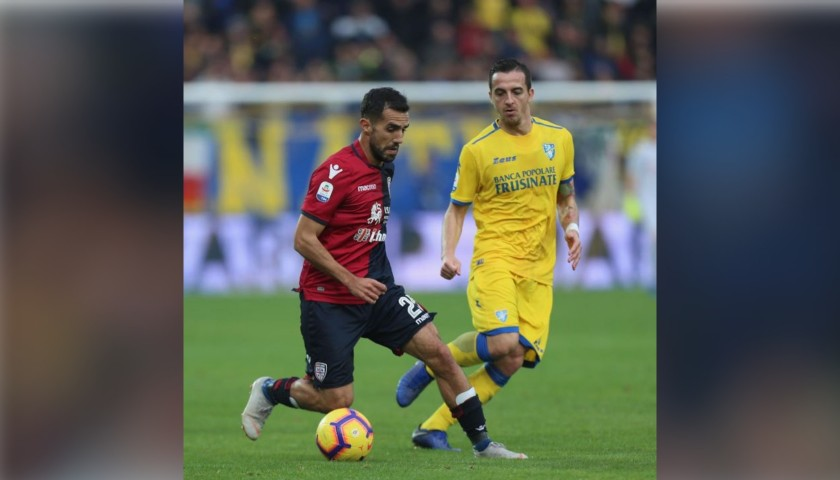 Sau's Worn Shirt with Special UNICEF Patch, Frosinone-Cagliari