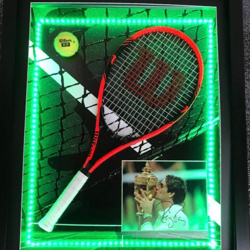 Roger Federer Signed and Framed LED Tennis Display