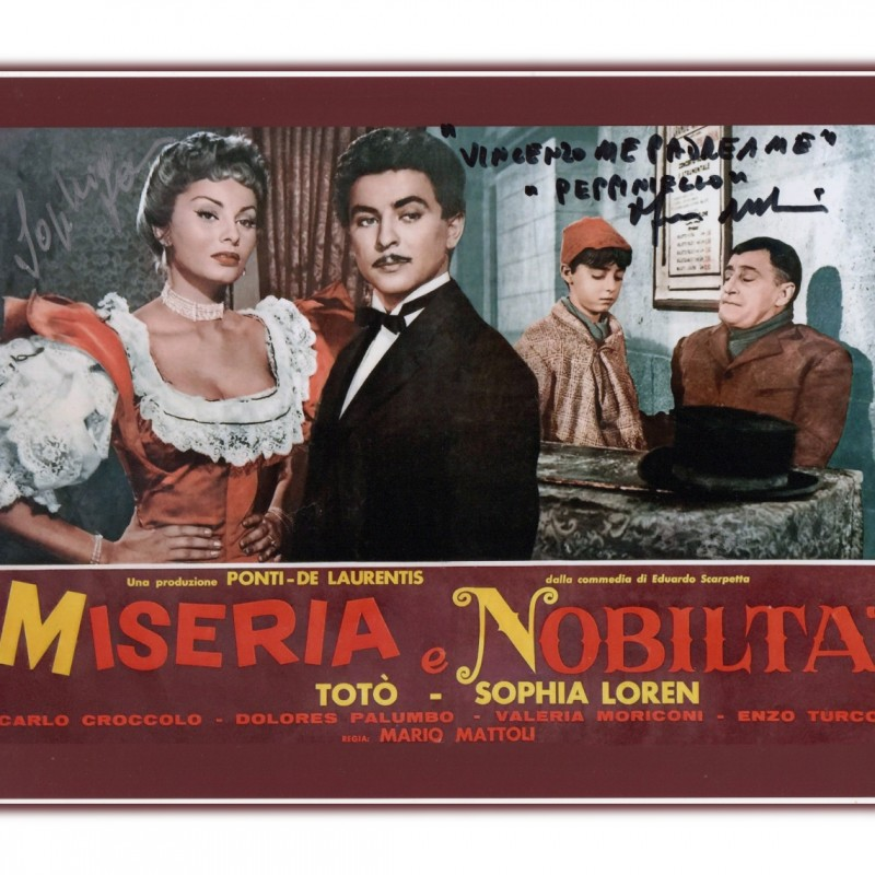 "Sophia Loren and Franco Melidoni - ""Miseria e Nobiltà"" Signed Photograph"