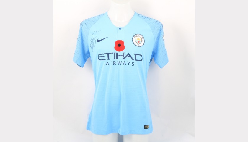 best service eec83 b10f4 Mendy's Manchester City Match-worn and Signed Poppy Shirt - CharityStars