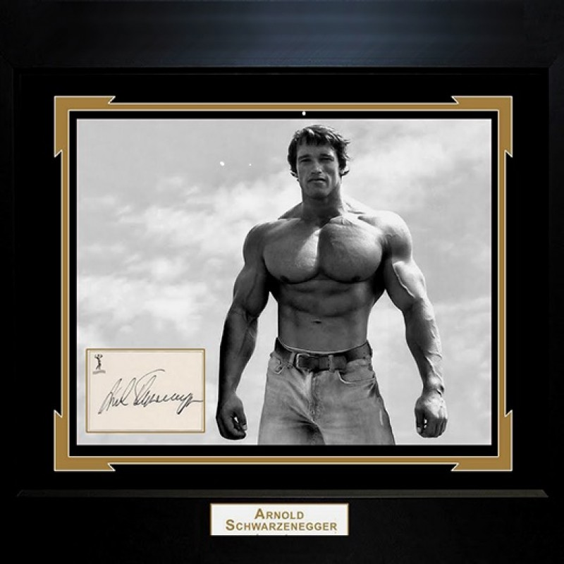 Arnold Schwarzenegger Hand Signed, Custom Framed Display