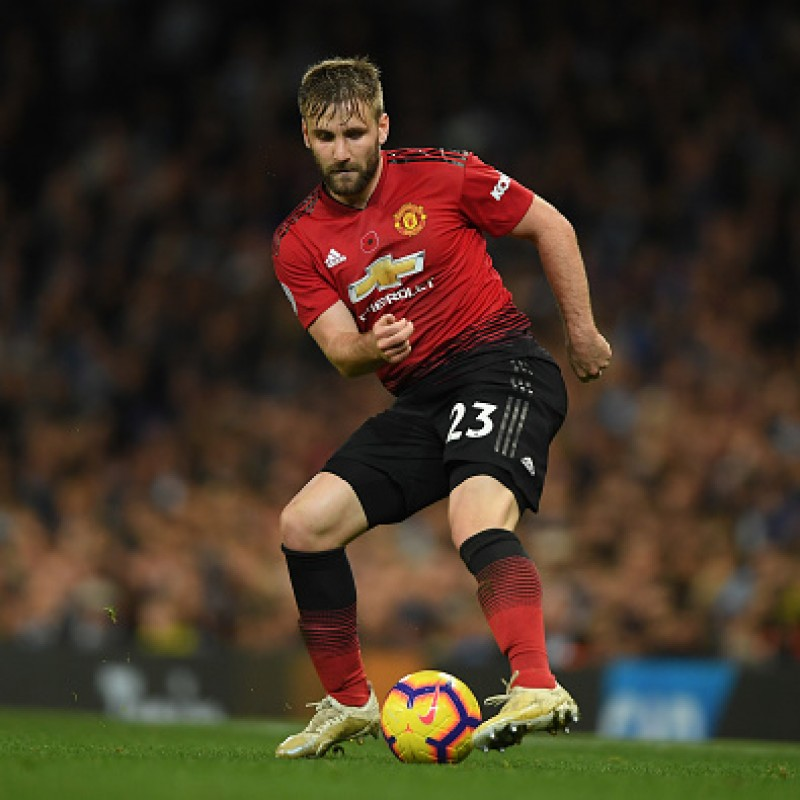 Shaw's Manchester United Match-worn and Signed Poppy Shirt