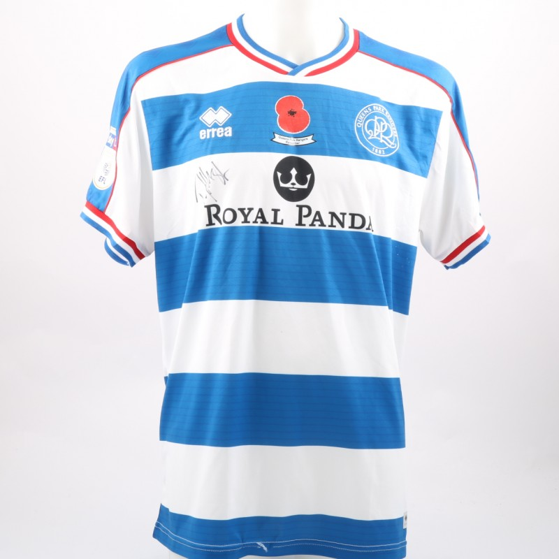 Toni Leistner's Queens Park Rangers Worn and Signed Home Poppy Shirt