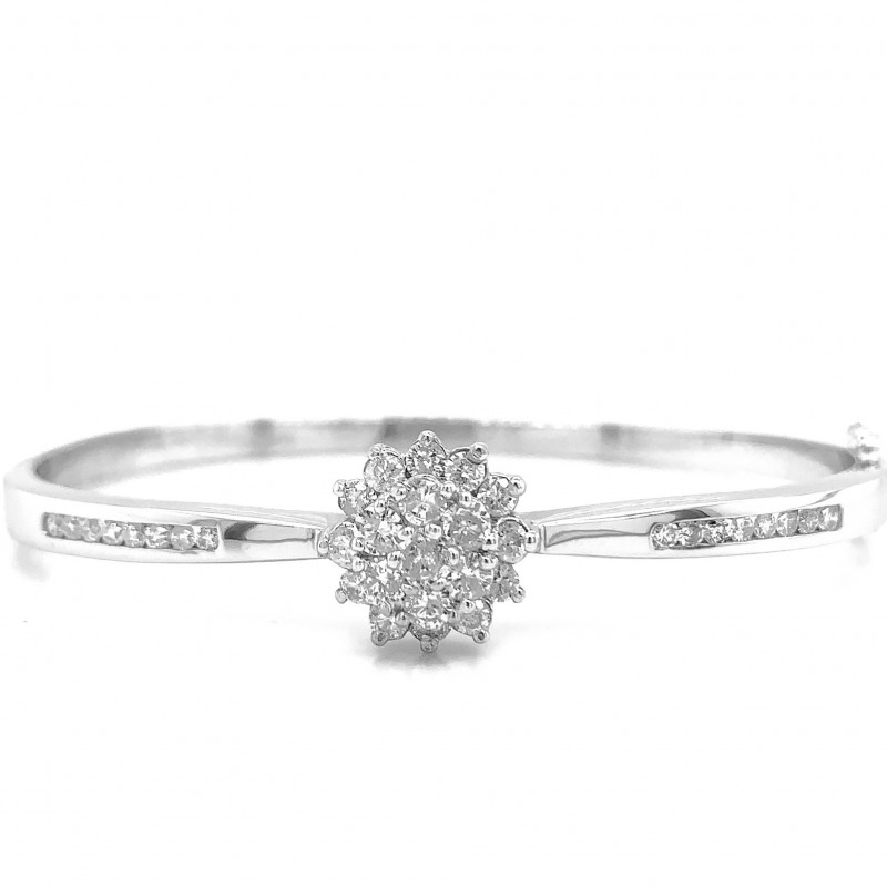 18KT White Gold 1.00 Carat Diamond Bangle Bracelet