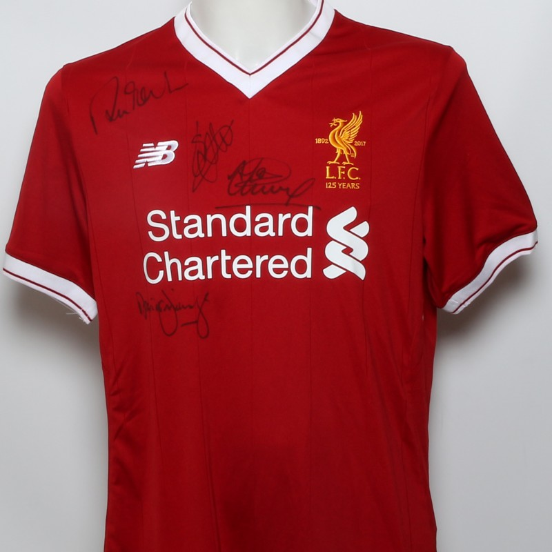 """LFC 125 Shirt """"The Fan Heroes"""" Signed by Fowler, Fairclough, Kennedy and Hyypia"""