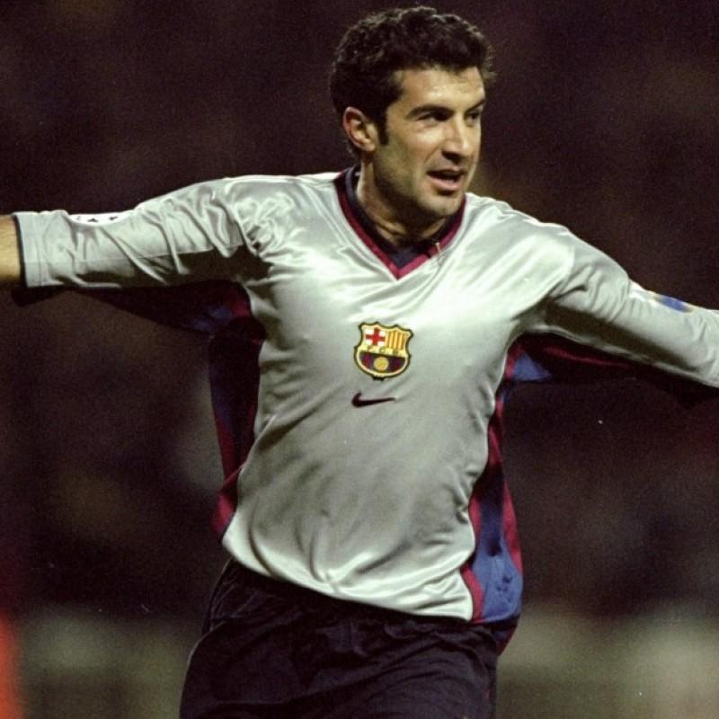 Figo's Signed Match-Issued Barcelona Shirt, 1998/99 Liga
