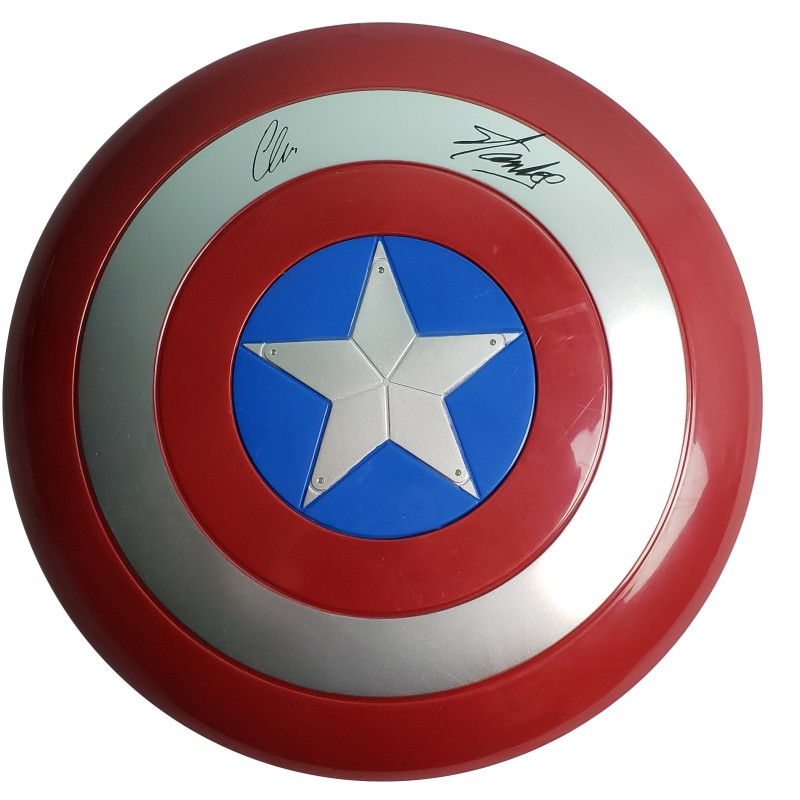 Captain America Shield with Chris Evans and Stan Lee Printed Signatures