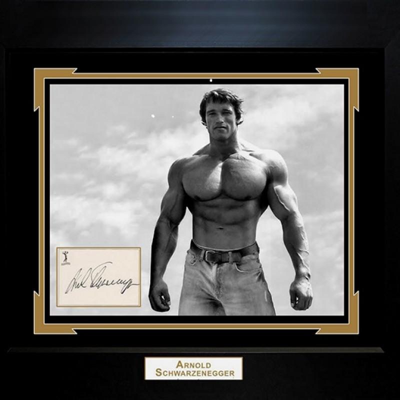 Arnold Schwarzenegger Hand Signed, Custom Framed Display