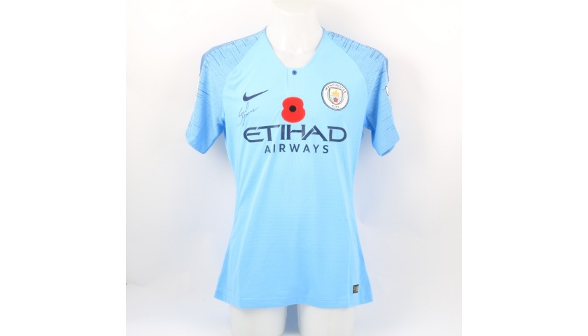 Gabriel Jesus' Manchester City Match-worn and Signed Poppy Shirt