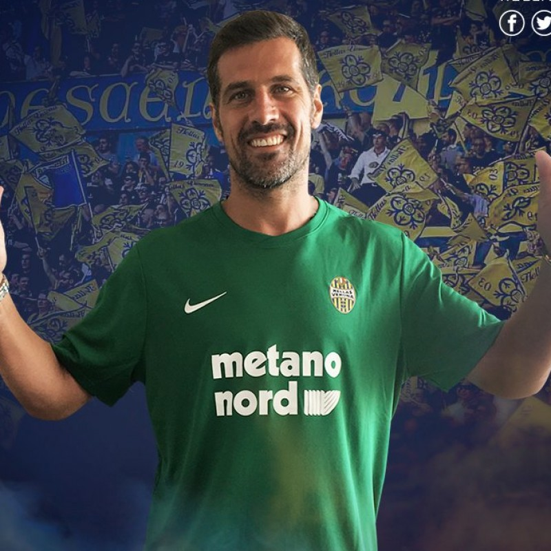 "Coppola's Match-Worn 2018 Hellas-Chievo Shirt with ""Ciao Davide"" Patch"