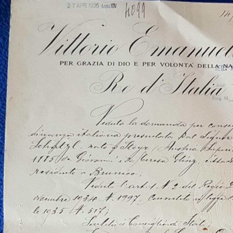 Original Vittorio Emanuele III + Benito Mussolini signed Decree dated 1936