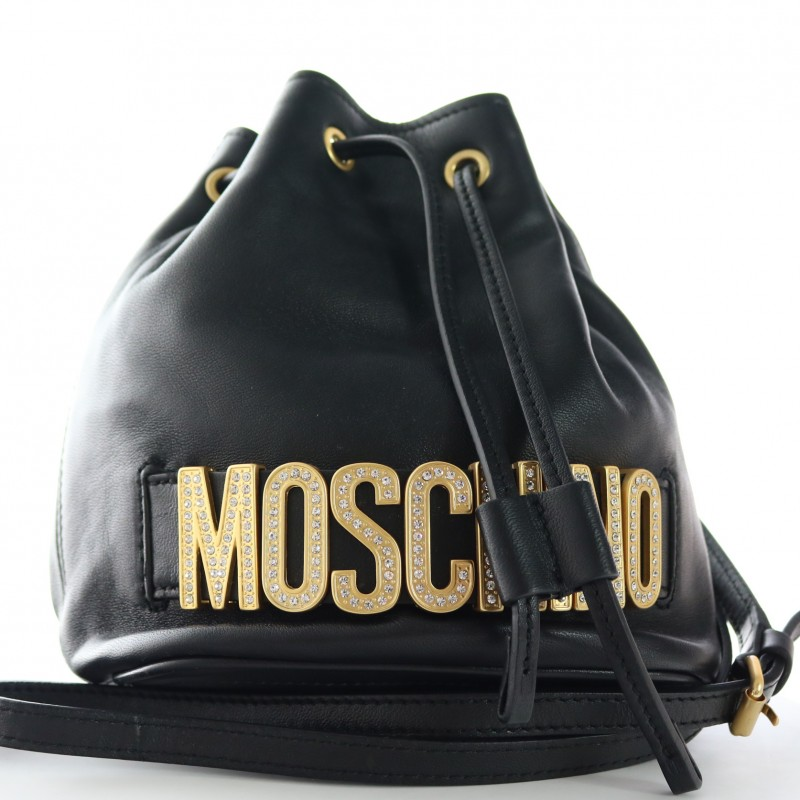 Moschino Lettering Strass Clutch