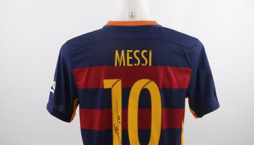 20a6e165e39 Messi FC Barcelona Signed Shirt - CharityStars