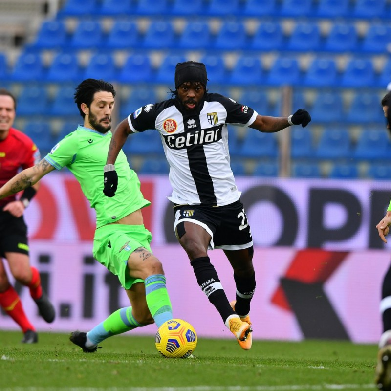 Gervinho's Parma-Lazio Worn Shirt, 2021
