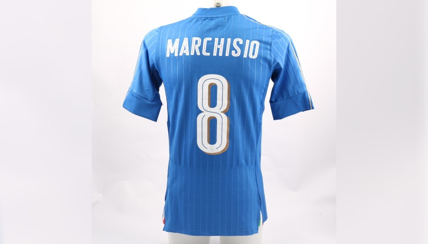 Marchisio's Match-Issue Shirt and Bib, Italy-Romania 2015