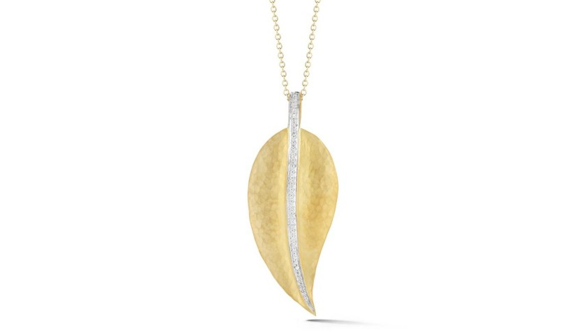 14 Karat Yellow Gold Matte and Hammer-Finish Leaf Pendant