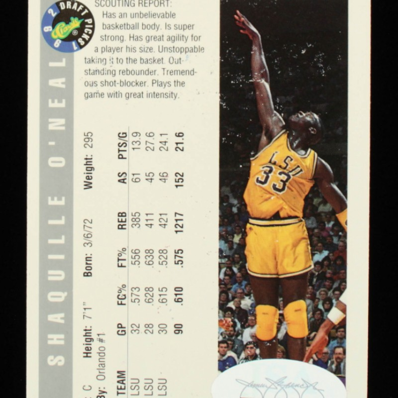 Shaquille O'Neal Signed 1992 Classic #1 Rookie Car