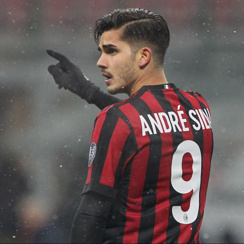 André Silva's match Worn Milan-Inter Shirt with Special Patch