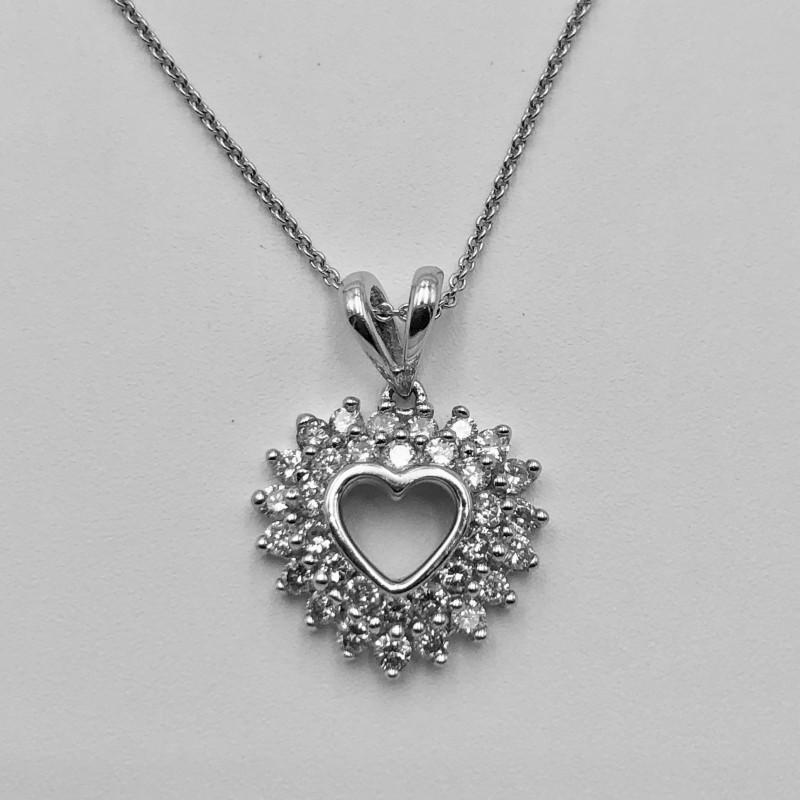 14KT White Gold Diamond Heart Pendant