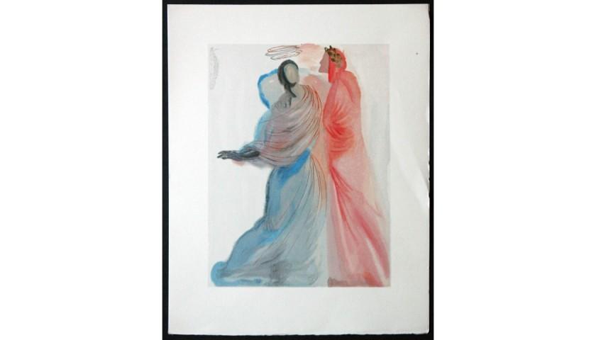 """Original Board by Salvador Dalì - """"Il conforto di Beatrice"""" Paradiso Canto XVIII"""
