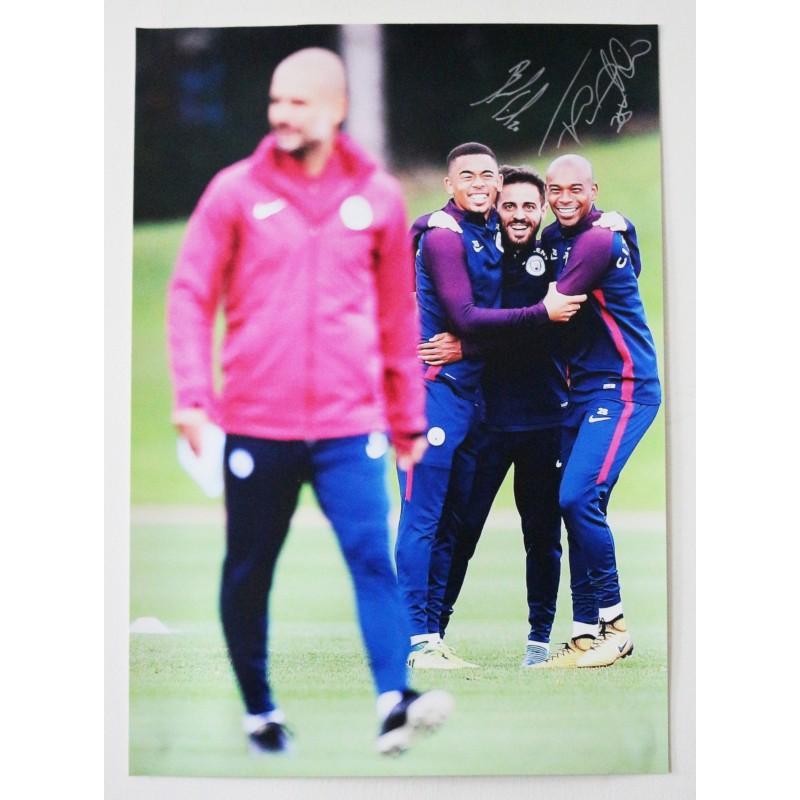 Pep Guardiola, Gabriel Jesus, Fernandinho and Bernardo Silva Manchester City FC A2 Signed Photograph