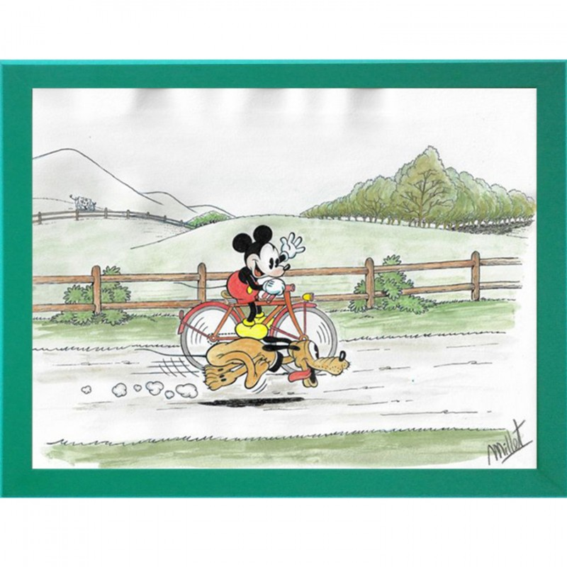 Mickey Mouse and Pluto Original Board by José María Millet López