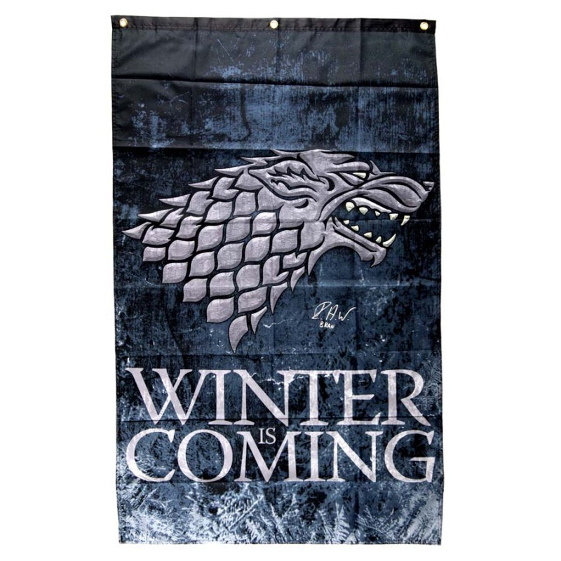 "Isaac Hempstead Wright Signed Game of Thrones Winter is Coming Banner with ""Bran"" Inscription"