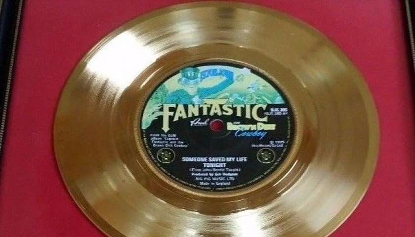 "Elton John BPI Gold Disc ""Someone Saved My Life Tonight"""