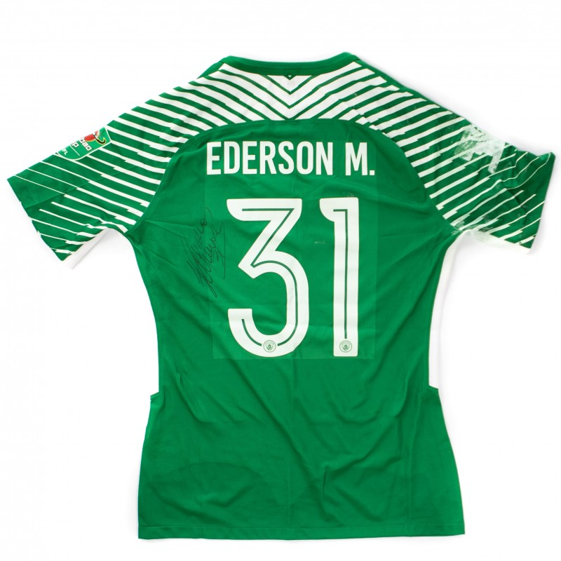 Manchester City Caraboa Cup 2018 Final Match Worn Cup Shirt signed by Ederson