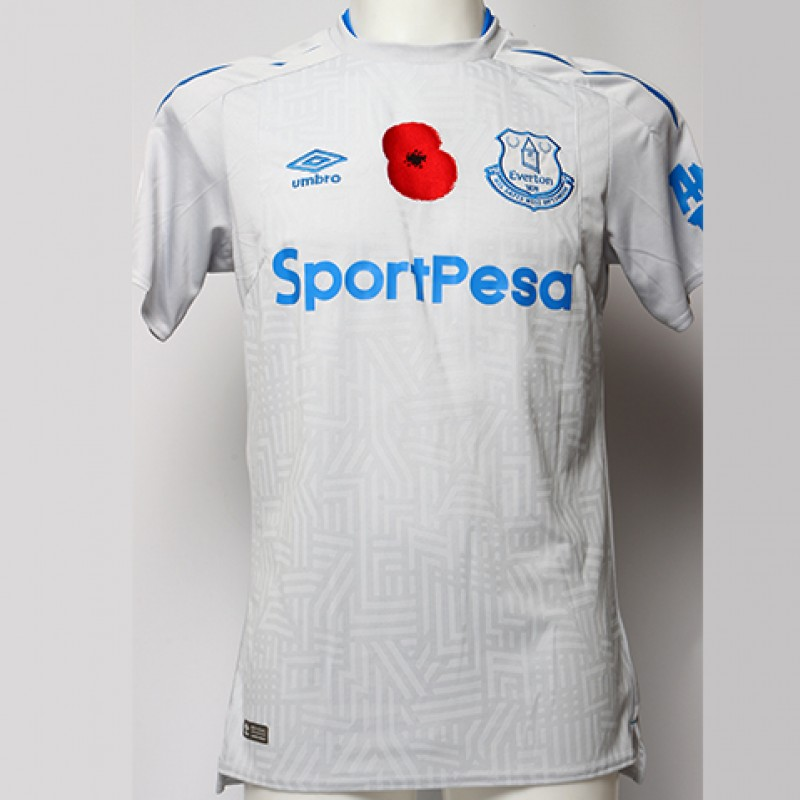 Issued Poppy Away Game Shirt Signed by Everton FC's Idrissa Gana Gueye