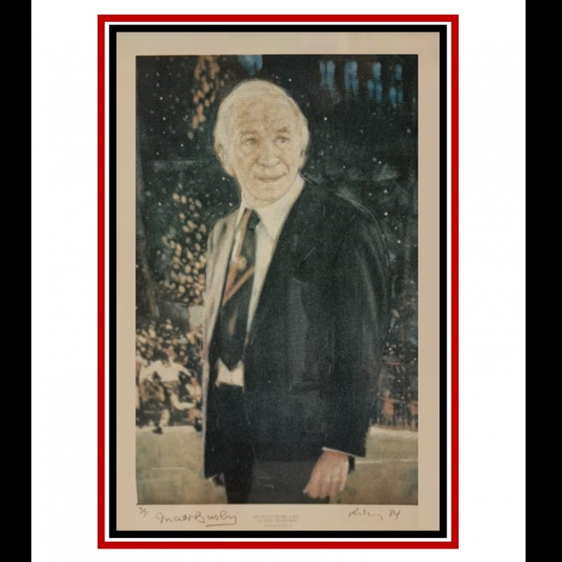 Very Rare Limited Edition Signed Print of Sir Matt Busby by Harold Riley