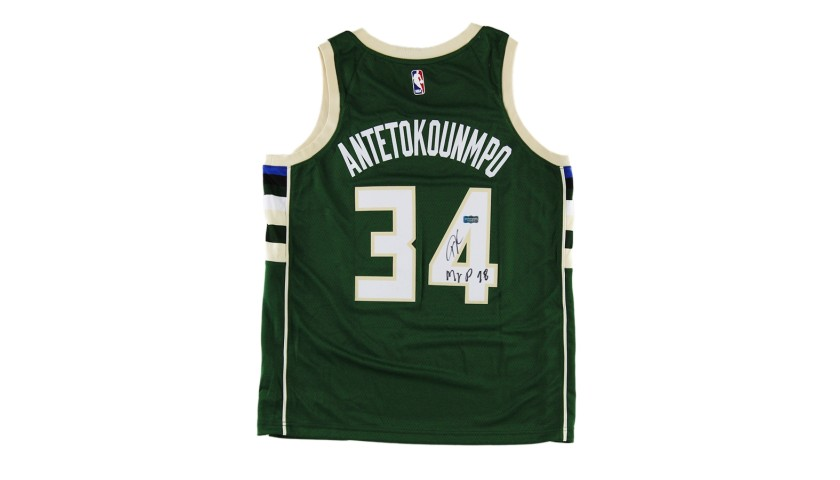 "Giannis Antetokounmpo Signed Milwaukee Bucks NBA Jersey with ""MVP 18"" Inscription"