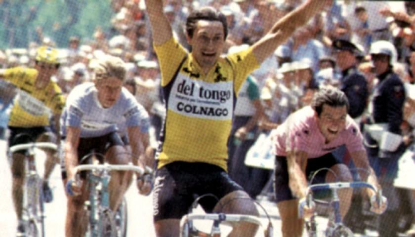 Giuseppe Saronni s Del Tongo - Colnago Worn Cycling Shirt - CharityStars 8a1659b1d