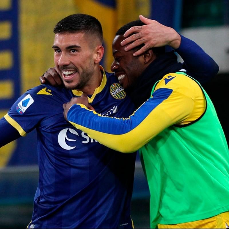 Zaccagni's Worn and Signed Shirt, Hellas Verona-Genoa