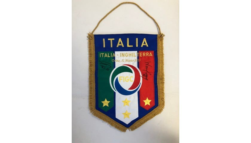 Italy-England Pennant - Signed by Immobile and Rooney
