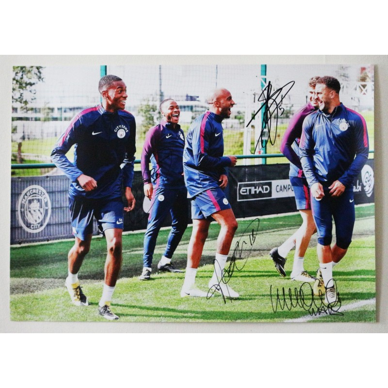 Raheem Sterling, Fabian Delph, Kyle Walker and  John Stones Manchester City FC A2 Signed Photograph