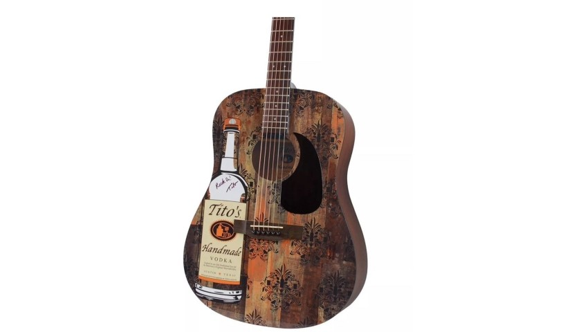 Limited Edition Autographed Titos Vodka Guitar + Moscow Mule Gift Basket